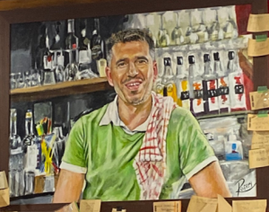 Clairmont's Windsor coffee shop painting of owner.